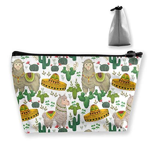 Womens Sombrero (Llama Animal Sombrero Women Cosmetic Bags Portable Pouch Trapezoidal Storage Bag Travel Bag with Zipper)