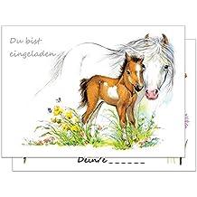 15 Einladungskarten Kindergeburtstag Pferde / Pferd Und Fohlen  Geburtstagseinladungen Einladungen Geburtstag Kinder Mädchen