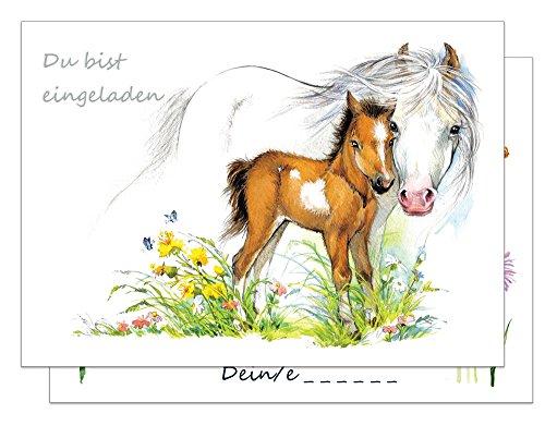 15 Einladungskarten Kindergeburtstag Pferde / Pferd und Fohlen Geburtstagseinladungen Einladungen Geburtstag Kinder Mädchen (Mit passenden Umschlägen)