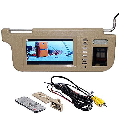 GGTFA Beifahrer Seite Sonnenblende Rückspiegel Monitor Sun Visor 2 Video-Eingang für Auto Kamera GPS DVD TV Beige