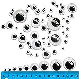 TOAOB Selbstklebend Wackelaugen Runde Schwarz Weiß 6mm - 35mm Bastelaugen Klebeaugen Gemischte Neun Größen Packung mit 100 Stück von TOAOB