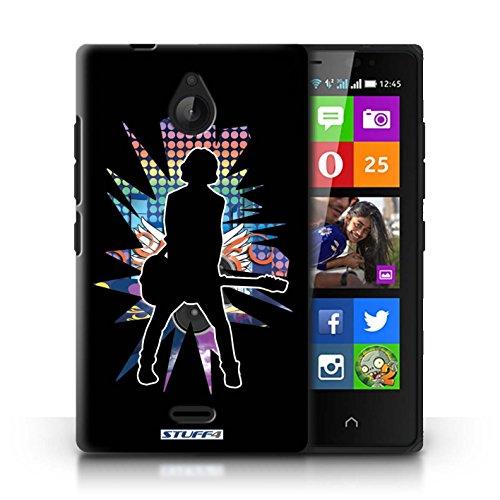 Kobalt® Imprimé Etui / Coque pour Nokia X2 Dual Sim / Atteindre Blanc conception / Série Rock Star Pose émotion Noir