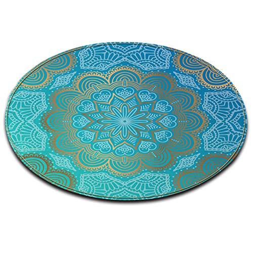LB Round Area Teppich, Hellblau, Blume, Mandala Muster Wohnzimmer Schlafzimmer Badezimmer Küche weichen Teppich Bodenmatte Home Decor, 120x120CM - Küche-teppich-blumen