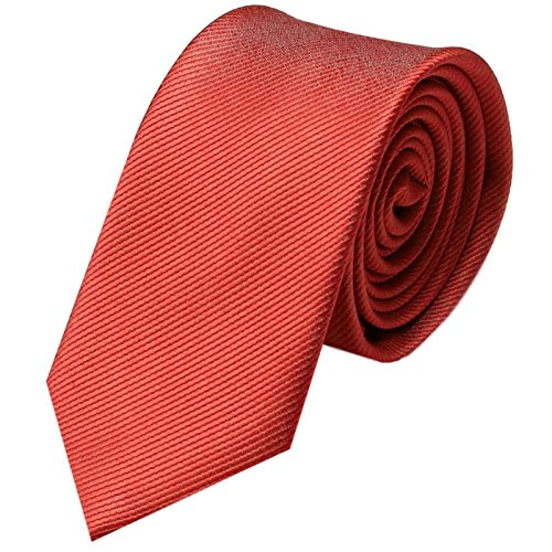 Krawatte 6cm Schmal gestreift | Hell-rote Rips Herrenkrawatte zum Sakko | Slim Schlips Binder einfarbig Rot mit feinen Streifen