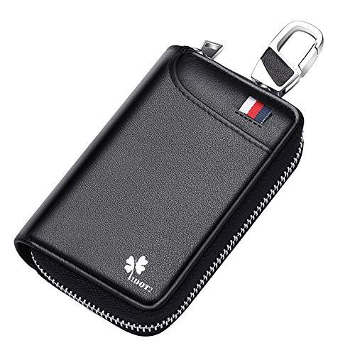 ZHIJING Schlüsseltasche Auto Schlüsseletui Leder 5 Fächer 6 Schlüsselhaken NFC Schutz Schlüsselmäppchen für Autoschlüssel Nappaleder Handarbeit Bargeld Kartenetui Herren und Damen klein schwarz