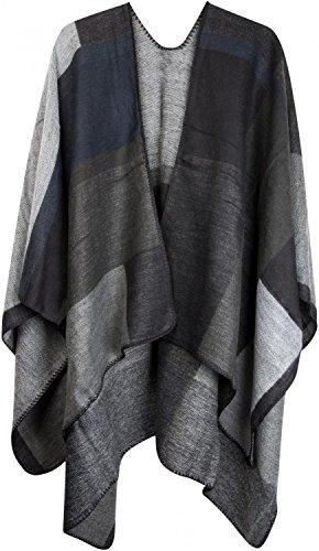 styleBREAKER Poncho mit Rechteck Muster, Umhang, Überwurf Cape, Wendeponcho, Patchwork Design, Damen 08010008, Farbe:Grau-Schwarz-Weiß