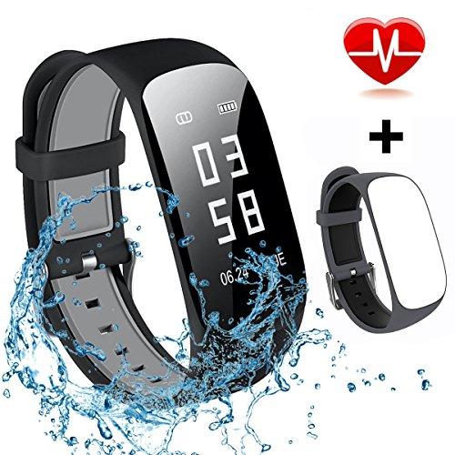 Mocrux Fitness Armbanduhr HR Unisex Armband Zur Herzfrequenz Fitness Tracker Smartwatch Aktivitätstracker Schrittzähler Armbanduhr Schlafanalyse Kalorienzähler Anruf/ SMS Wasserdicht IP67 mit ein Ersatzarmband