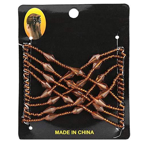 Qkiss Elastischer Kamm für Haar, Haarspange, Elastische Klammer doppeltes DIY Haar Styling Tool(Kaffee) (Haar Kamm Schmuck)