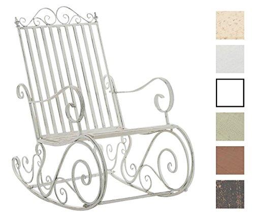 CLP Eisen-Schaukelstuhl SMILLA im Landhausstil I Schwingstuhl mit hoher Rückenlehne I In Verschiedenen Farben erhältlich Antik Weiß