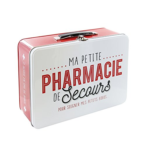 510pK3t37QL - LA BOITE A BT6630Caja Metálica con Texto en francés Pharmacie Rojo/Blanco 26,50x 9,40x 22,30cm