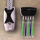 TidyZone Zahnpastaspender und Zahnbürstenhalter - Einfach einsetzbares Zahnhygieneset bestehend aus kinderleicht zu bedienendem Zahnpastaspender und Halterung