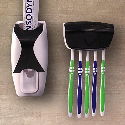 """TidyZone """"Zahnpastaspender und Zahnbürstenhalter"""" - Das einfach einsetzbare Zahnhygieneset bestehend aus einem für Kinder leicht zu bedienenden Zahnpastaspender und einer Halterung für bis zu fünf Zahnbürsten. Dadurch wird selbst das morgendliche Zähneputzen noch zu einem Erlebnis für groß und klein!"""