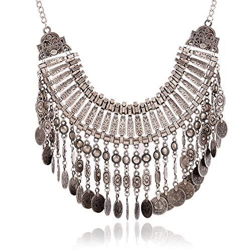 Beixi Zeit Europa und Amerika Retro Quaste Münze Halskette Sweater Kette Clavicular Kette ergänzen - Silber-münze Lagerung