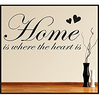 HOME IS WHERE THE HEART IS FAMILY LOVE WALL ART STICKER QUOTE LIVING ROOM LOUNGE HALLWAY HOME DECOR