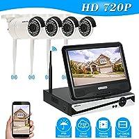 "KKmoon 4CH NVR Wifi CCTV Kit + 10.1"" Monitor LCD + 4x Cámara IP HD 720P WiFi Exterior Impermeable P2P IR Visión Nocturna Detección de Movimiento para Android/iOS APP"