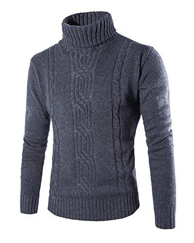 Maglione dolcevita uomo maglia pullover slim fit aderente collo alto grigio scuro xl
