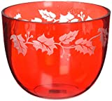 """ATD 50404 6.75"""" Red & White Leaf Deep Glass Bowl"""