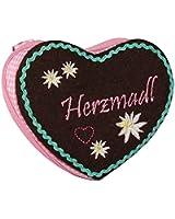 """SIX """"Oktoberfest"""" rosa-braunes Portemonnaie in Herz Form mit """"Herzmadl"""" Schriftzug & Edelweiß (419-390)"""