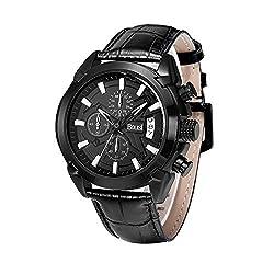 BOLISI 8201 Analog Chronograph Leather Sport Quartz Wrist Watches For Men Calendar Date Black Dial