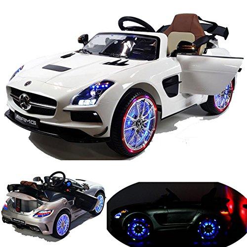2x MOTEURS* Original Mercedes-Benz SLS AMG Licence - Voiture / Véhicule électrique pour Enfant avec TÉLÉCOMMANDE Porteur Vélo (Blanc)