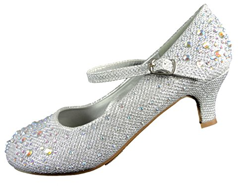 Kids Girls Mary Jane Party Shoes Diamante Glitter Bridesmaids Low Heels Size UK 9-2 (Uk12 Eur 30, Silver)