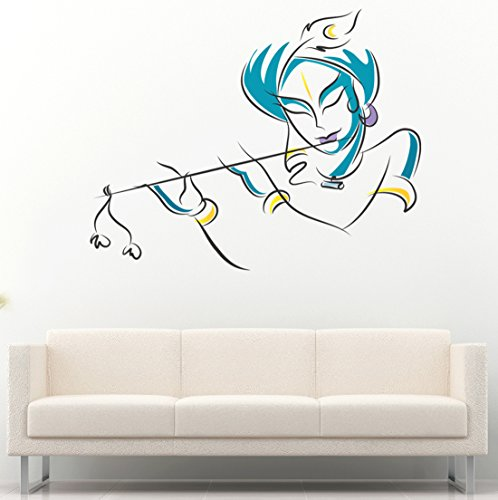Grand Pixels Lord Krishna Flute Playing Wall Sticker 90 CM x 70 CM  available at amazon for Rs.174
