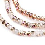 nbeads 1Strang galvanisiert Glas Perlen, Nachahmung Jade, Hälfte Rose Vergoldet, facettiert Abacus, weiß, 4X 3mm, Loch: 1mm, über 146pcs/Strähne, 47,8cm
