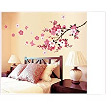 UberLyfe Tree with Pink Flower Wall Sticker Size 4 (Wall Covering Area: 75cm x 165cm) - WS-000445