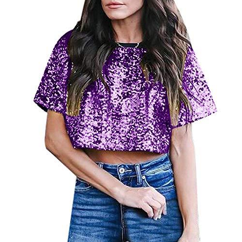 YEBIRAL Damen Kurzarm T-Shirt Shimmer Glitzer Paillette verziert Sparkle Bluse Oberteil Tops(XL,Violett) -