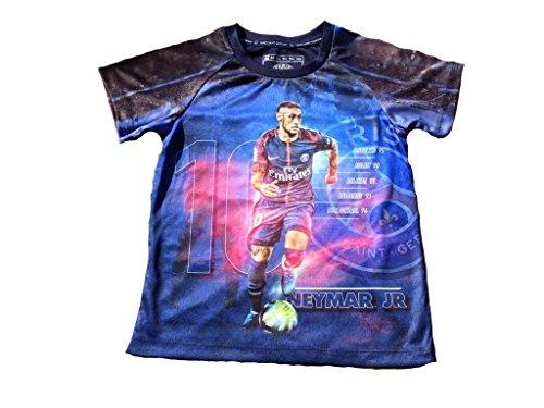 Maglia neymar jr psg foto bambino ragazzo t-shirt maglietta paris saint germain ufficiale player (cm:torace 33,lunghezza 43,50-anni 4)