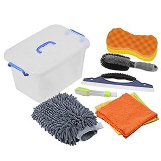 Auto Reiniger Set, DEDC 7er/Set Autopflege Set Autowaschset umfasst Felgenbürste Schwamm Mikrofaserhandschuh Wasserabzieher Reinigungstuch Set Lüftungsschlitze Bürste Kofferraumbox Grau