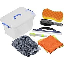 DEDC 9Pcs Kit Limpieza Coche 3 Paños de Limpieza Microfibra Cepillo para Llantas Cepillo para Rejilla de Ventilación Lámina de Silicona para Secado Esponja para Limpieza Guante para Limpieza - Gris