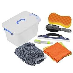 Idea Regalo - DEDC Kit di Strumenti di Lavaggio Auto Kit Pulizia Auto Autolavaggio Guanto Spugna per Pulizia Auto Spazzola di Ruota Auto Parabrezza Cleaner con Contenitore di Plastica Grigio