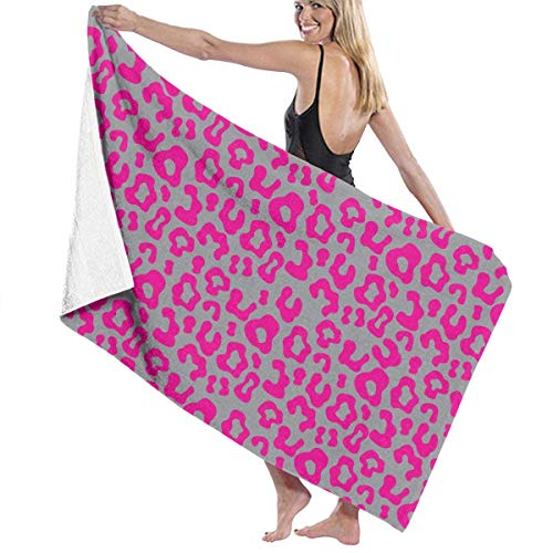 xcvgcxcvasda Serviette de bain, Pink Leopard Print Premium 100% Polyester Large Beach Towel, Suitable for Hotel, Swimming Pool, Gym, Beach, Natural, Soft, Quick Drying