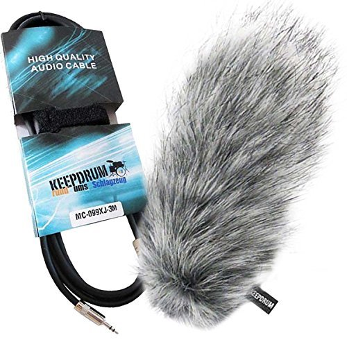 Keep Drum WS03pelliccia del vento per VideoMic Pro Rycote + 3m cavo mini jack da 3,5mm