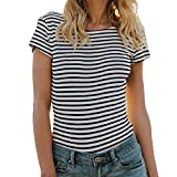 MRULIC Damen Kurzarm Streifen Gestreift Druck Damen Tops Mädchen Wort Lose Bluse T-Shirt (Schwarz,EU-40/CN-M)