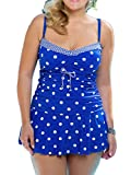Swallowuk Damen Mode Übergröße Badeanzug Dot Badeanzüge Trägerlos One Piece Bikini (XXL, Blau)