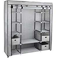 Gr8 Home Large Grey Fabric Canvas Bedroom Wardrobe With Hanging Rail Shelving Clothes Storage Cupboard Unit