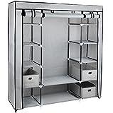 Gr8 Home Segeltuch-Kleiderschrank Fürs Schlafzimmer, Mit Kleiderstange, Regal, Kleidungsaufbewahrung, Schrankeinheit, Stoff/Metall, Grau, 134x 45x 175cm
