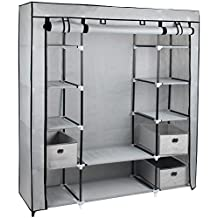 Gr8 Home Canvas Bedroom Wardrobe with Hanging Rail Shelving Clothes Storage Cupboard Unit, fabric/metal, Grey, 134 x 45 x 175 cm