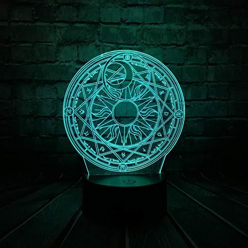 GYBYB Cartoon japanischen Anime CardCaptor Sakura Magic Circle 3D-Lampe USB-Nachtlicht Multicolor LED RGB-Glühbirne Luminaria Kid Spielzeug @ Remote_Controller_7_China Sakura Magic