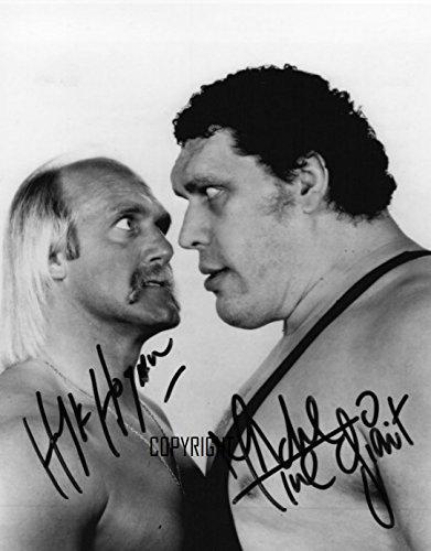 Andre The Giant wrestling Hulk Hogan fotografia firmato edizione limitata + stampato Autograph