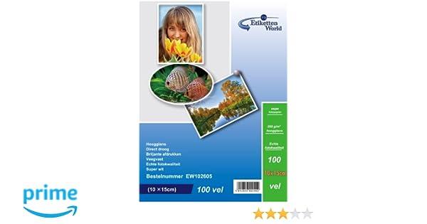 EtikettenWorld BV Fotopapier 13x18cm 230g//qm High Glossy und wasserfest