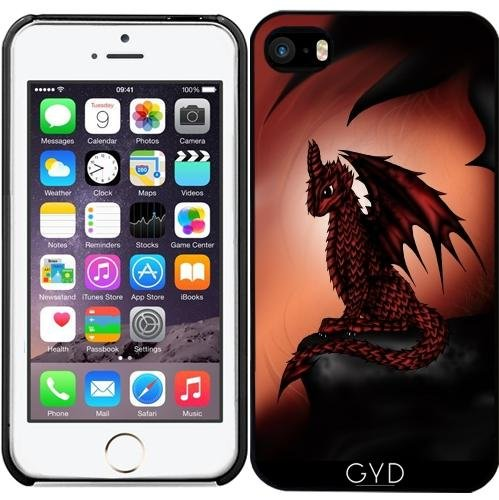 Leder Flip Case Tasche Hülle für Apple iPhone 5/5S - Red Epischen Drachen by Pezi Creation Starre Kunststoff