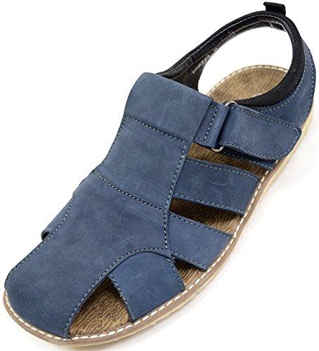 Schuhe 11 Größe Garten (Herren Echt Leder Wildleder Casual Strand/Sommer/Garten Sandalen/Schuhe, Blau - Navy - Größe: 43)