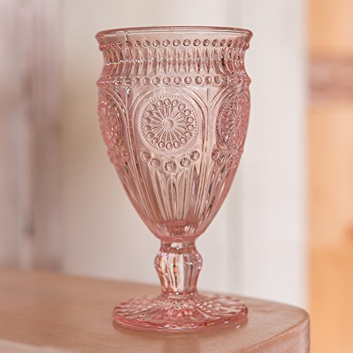 Weddingstar Weinkelch aus gepresstem Glas, Vintage-Stil, Rosa