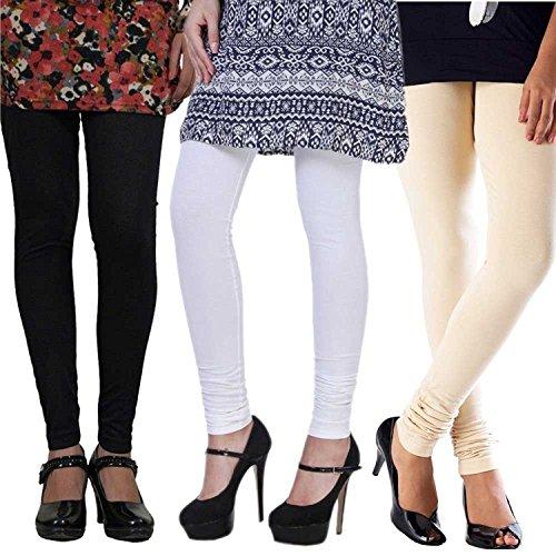 Combo churidar leggings for women -churidar leggings online -Best Quality White,Black,Cream Colour(...