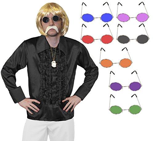 ILOVEFANCYDRESS 1960S Disco Hippie Set KOST[M VERKLEIDUNG=RÜSCHEN Hemd+MEDALLIEN Kette+Hippie Brille+PERÜCKE+Schnurrbart=Samstag Nacht Fasching Party=Hemd-SCHWARZ/XLarge+ Brille/LILA