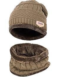 SWAMPLAND Beanie Mütze Set Unisex Winter Warme Skimütze Hat Strickmütze mit Warmem Schal