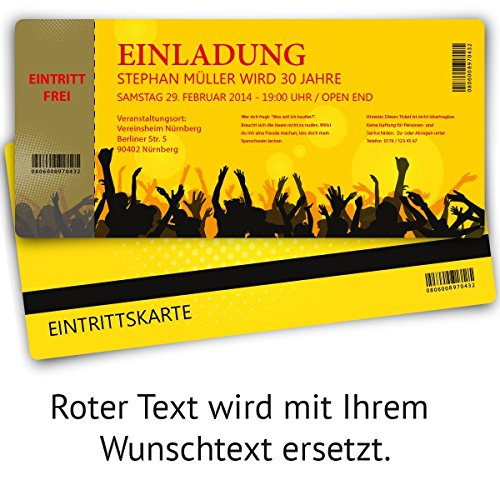 Einladungskarten zum Geburtstag (100 Stück) als Eintrittskarte Party Ticket Karte Einladung - 3